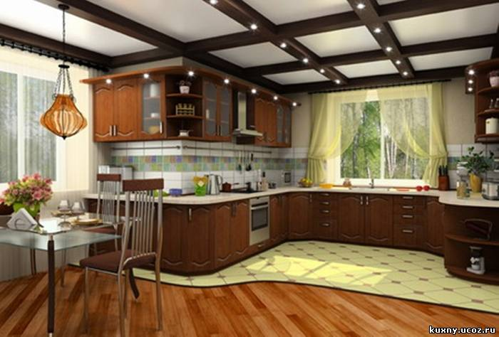 Дизайн угловой кухни с окнами